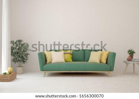 White living room with sofa. Scandinavian interior design. 3D illustration #1656300070