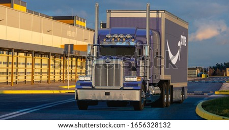 Szczecin,Poland-February 2020:American Peterbilt truck with a semi-trailer with the Amazon Prime logo in the Amazon logistics center #1656328132