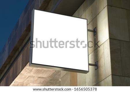 Square signboard or signage on the marble wall with blank white sign mock up. Night scene. Bottom view. 3d illustration