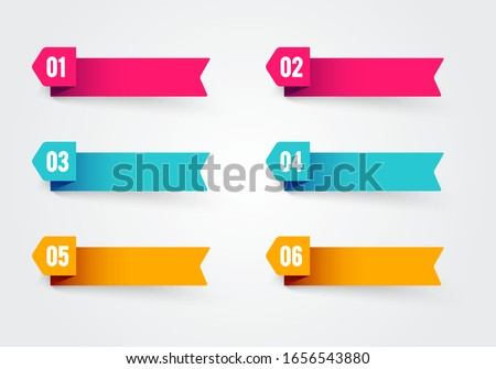 Vector illustration bullet point flags. Banner in retro color with number 1 to 6 #1656543880
