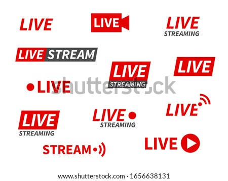 Live streaming icons. Broadcasting video news, tv stream screen banners. Online channel, live event stickers isolated vector set for living show technology Royalty-Free Stock Photo #1656638131