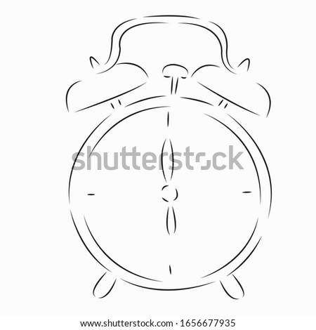 One continuous single drawing line art flat doodle character, person, clock, alarm, time, morning, watch. Isolated image hand draw contour on a white background