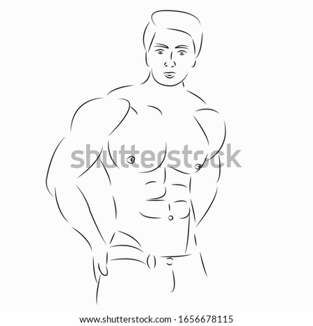 One continuous single drawing line art flat doodle fit, male, strong, body, fitness. Isolated image hand draw contour on a white background