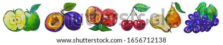 Painted fruits set acril colors #1656712138