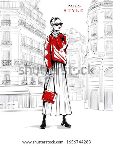 Hand drawn beautiful young woman in sunglasses. Fashion woman in red sweater. Girl in fashion clothes with Paris street background. Sketch. Fashion illustration.