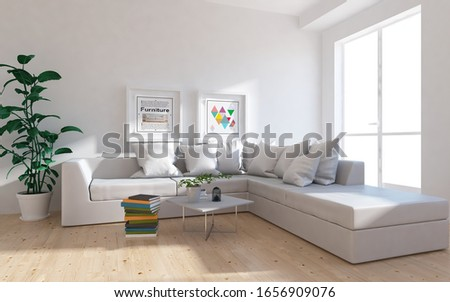White minimalist living room interior with sofa, sunlight on a wooden floor, frames on a large wall, white landscape in window. Home nordic interior. 3D illustration #1656909076