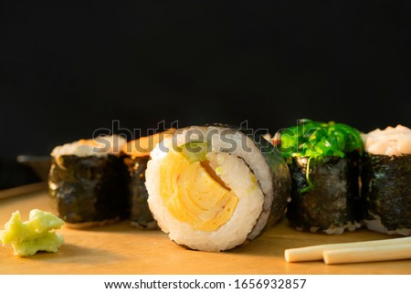 Close-up pictures of sushi, a popular Japanese food