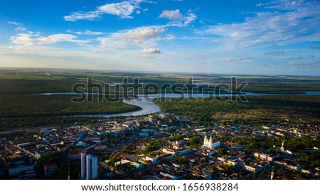 Beautiful cityscape aerial view of downtown João Pessoa with gorgeous cathedrals, rivers, and fields in the background located in Brazil. #1656938284