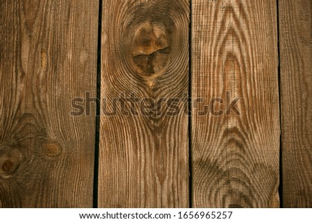Old wooden floor background. Timber fence, desk surface. Natural color, grunge board, brown weathered table. #1656965257