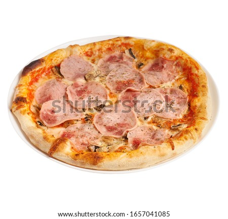 Delicious pizza with ham and mushrooms on a plate, isolated on a white background. #1657041085
