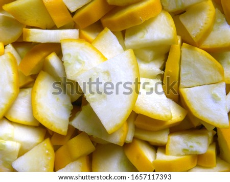 Yellow color diced cut zucchini vegetables #1657117393