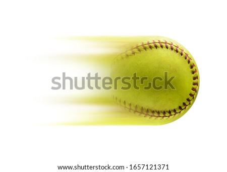 Full speed. Softball ball, speed concept.