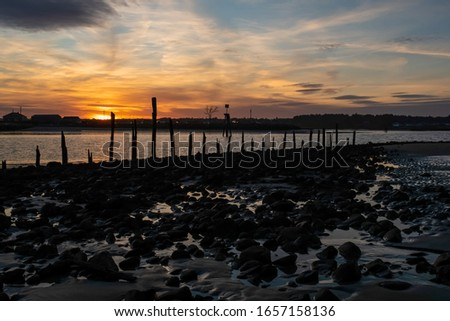 Sunset at low tide on Drakes Island looking into Wells Harbor - Wells, Maine. #1657158136