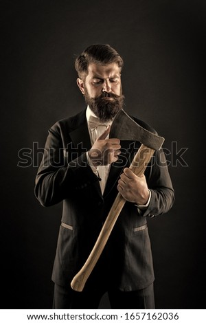 Sharp ax hand confident guy. Masculinity and brutality. Barbershop hairstyle. Firm determination. Brutal barber. Brutal manners. Resoluteness concept. Decision was made. Man brutal hipster with axe. #1657162036