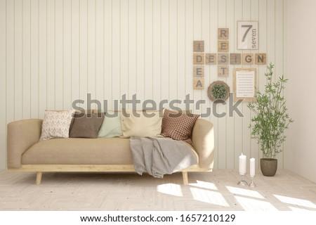 White living room with sofa. Scandinavian interior design. 3D illustration #1657210129