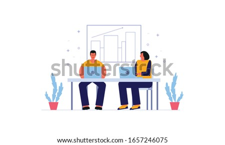 Employees discussing, business concept in office with people character illustration #1657246075
