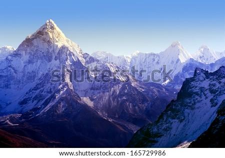 Spectacular mountain scenery on the Mount Everest Base Camp trek through the Himalaya, Nepal #165729986