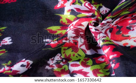 Texture background, dark blue silk fabric with roses painted colors, colors are blue red white green red white green #1657330642