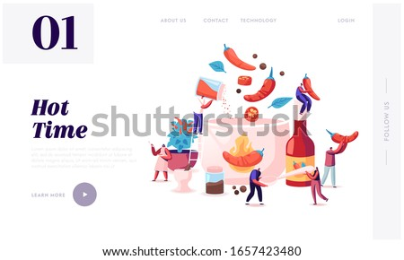 People Cooking Food with Hot Chili Website Landing Page. Tiny Characters Put Red and Black Chilli Pepper to Huge Boiling Sauce Pan Making Spicy Dish Web Page Banner. Cartoon Flat Vector Illustration #1657423480