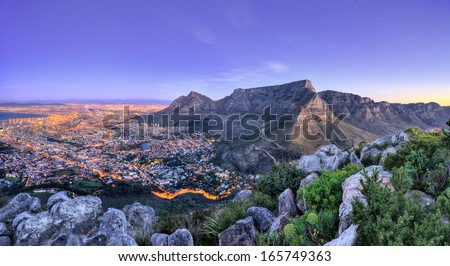 Beautiful South Africa's Cape Town's, Mountain and Sea views. Table Mountain, Lion's head and Twelve Apostles are popular hiking destinations for both locals and tourists all year round Royalty-Free Stock Photo #165749363