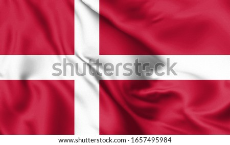 Denmark flag blowing in the wind. Background texture. 3d Illustration. #1657495984