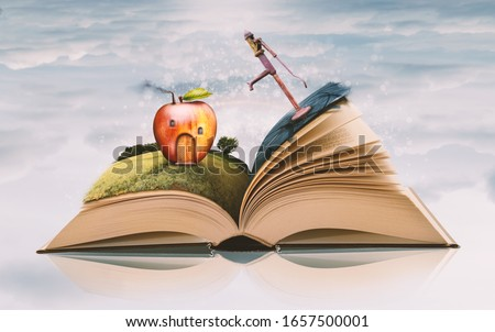 Open Paper Book with Novel Story Items - Apple House on Spring Field and Retro Water Pump on Asphalt Road on Sky Background. Reading Books Concept. Bookstore or Library Poster Layout.