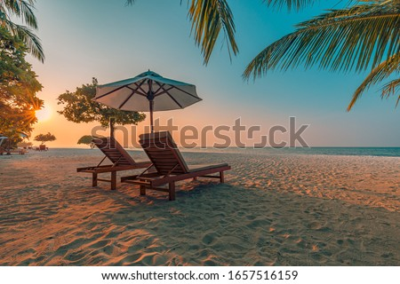 Romantic beach scenery, summer vacation or honeymoon background. Travel adventure sunset landscape of tropical island beach.  #1657516159