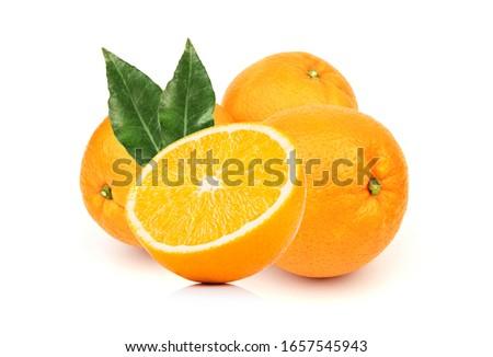 Fresh orange and leaf on white background #1657545943