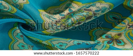 texture, background, multicolored silk fabric with a pattern of patterns on a turquoise background, #1657570222