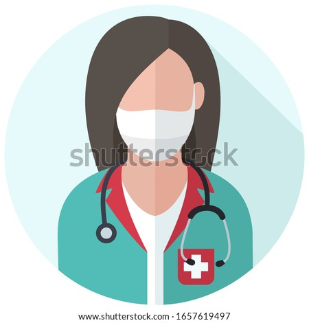 medical icon doctor woman  in  medicalmask. Image woman  doctor in uniform and with a stethoscope. Illustration of a doctor in flat style.
