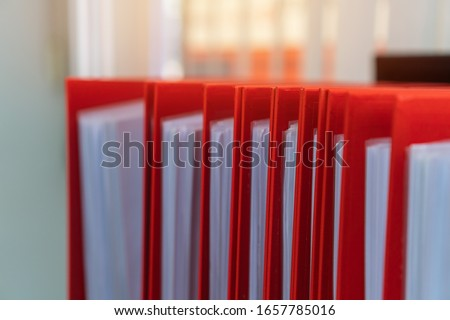 Documents Binder Paper, red shelf in archive Files folder on office, Annual Report document for Business papers financial market in offices, lawyer research achieves. Concept work hard in information #1657785016