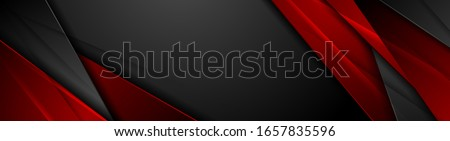 High contrast red and black glossy stripes. Abstract tech graphic banner design. Vector corporate background Royalty-Free Stock Photo #1657835596