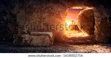 Tomb Empty With Shroud And Crucifixion At Sunrise - Resurrection Of Jesus Christ  #1658002756