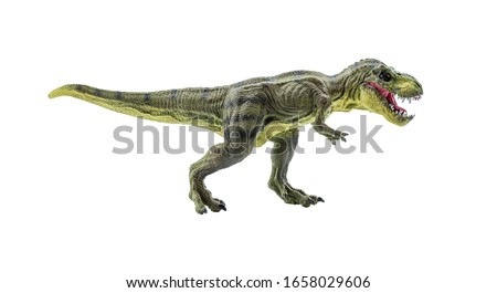 Tyrannosaurus Rex figurine isolated on white. Side view of a fierce T-Rex dinosaur. Tyrannosaurus was a bipedal carnivore with a massive skull. Exist before the Cretaceous-Paleogene extinction event. #1658029606
