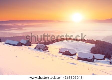 Fantastic morning mountain landscape. Overcast colorful sky. Carpathian, Ukraine, Europe. Beauty world. #165803048