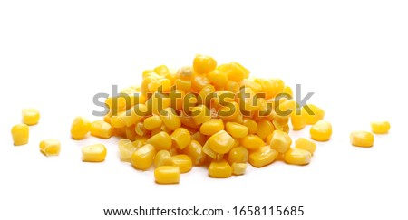 Yellow cooked corn isolated on white background Royalty-Free Stock Photo #1658115685