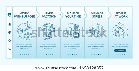 Avoid burnout onboarding vector template. Manage your time. Stress management. Mental health care. Responsive mobile website with icons. Webpage walkthrough step screens. RGB color concept #1658128357