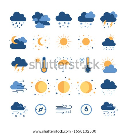 Set of simple outline icons - weather or forecast sings with clouds, snow, rain, , wind, sun and moon #1658132530