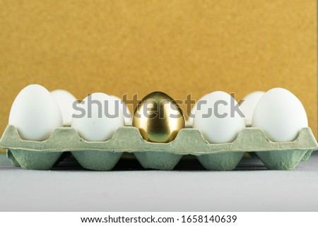One on anly unique golden egg among plain, simple white eggs in paper tray. Concept of leadership, talent, being gifted and extremely talented. Royalty-Free Stock Photo #1658140639