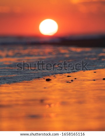 Vibrant red setting sun on the horizon over the ocean. Selective focus on the sand and incoming tide, with blurry distant background. #1658165116