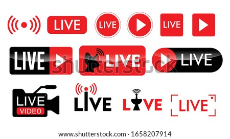 set of live streaming icon or live broadcasting online concepts. eps 10 vector Royalty-Free Stock Photo #1658207914