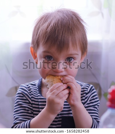 Close-up of a lovely two year old baby biting a piece of bread #1658282458