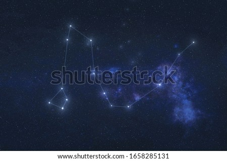 Draco Constellation night stars in outer space. Dragon constellation lines. Elements of this image were furnished by NASA  Royalty-Free Stock Photo #1658285131