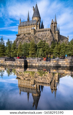 01/26/2020 Hogwarts Magic School Reflection in Lake Universal Studios Osaka #1658291590
