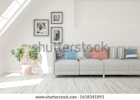 Modern living room in white color with sofa. Scandinavian interior design. 3D illustration #1658341891