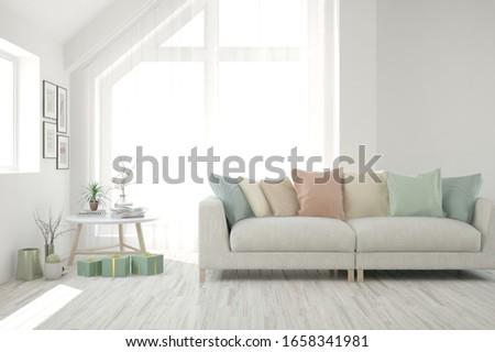 White living room with sofa. Scandinavian interior design. 3D illustration #1658341981