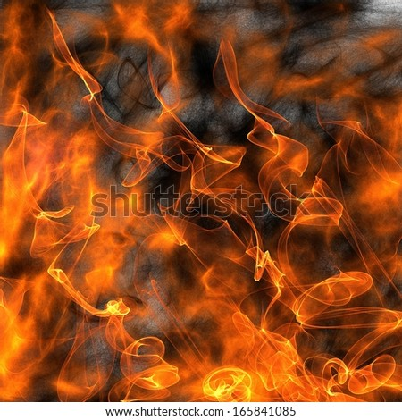 Flames of Fire and Smoke Background