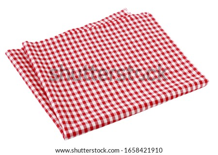 Placemat, Scotch pattern, red-white on white background.