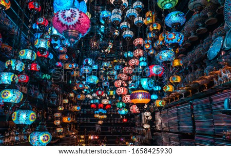 Best colorful Tourist Places in Dubai, Spice and Gold Souk, colorful hanging light lamp shop, Traditional Turkish Decoration Light, Travel and Tourism Concept Image #1658425930