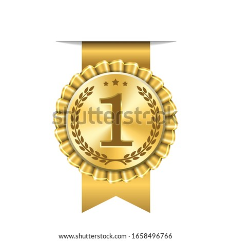 Award ribbon gold icon number first. Design winner golden medal 1 prize. Symbol best trophy, 1st success champion, one sport competition honor, achievement leadership, victory illustration #1658496766
